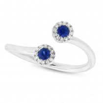 0.07ct Diamond & 0.20ct Blue Sapphire 14k White Gold Lady's Ring