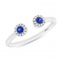 0.07ct Diamond & 0.16ct Blue Sapphire 14k White Gold Lady's Ring