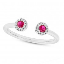 0.07ct Diamond & 0.20ct Ruby 14k White Gold Lady's Ring