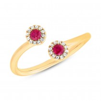 0.07ct Diamond & 0.20ct Ruby 14k Yellow Gold Lady's Ring
