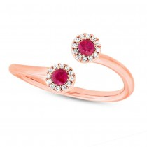 0.07ct Diamond & 0.20ct Ruby 14k Rose Gold Lady's Ring