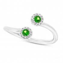 0.07ct Diamond & 0.18ct Green Garnet 14k White Gold Lady's Ring