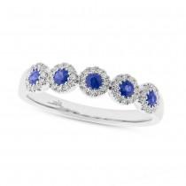 0.16ct Diamond & 0.31ct Blue Sapphire 14k White Gold Lady's Ring