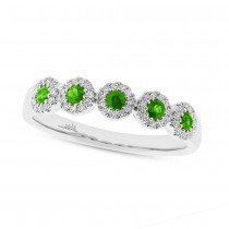 0.16ct Diamond & 0.30ct Green Garnet 14k White Gold Lady's Ring