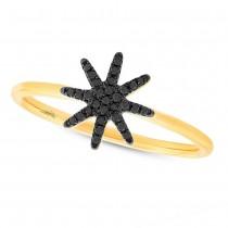 0.10ct 14k Yellow Gold Black Diamond Lady's Ring