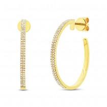 0.30ct 14k Yellow Gold Diamond Hoop Earrings