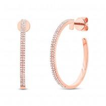 0.30ct 14k Rose Gold Diamond Hoop Earrings