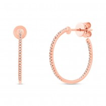0.15ct 14k Rose Gold Diamond Hoop Earrings