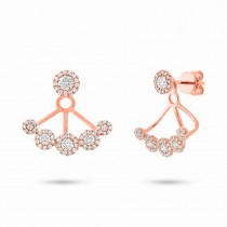 0.80ct 14k Rose Gold Diamond Earrings Jacket With Studs