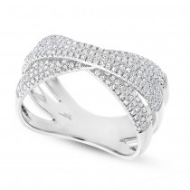 0.60ct 14k White Gold Diamond Pave Bridge Ring