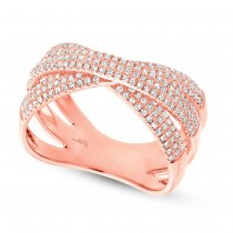 0.60ct 14k Rose Gold Diamond Pave Bridge Ring