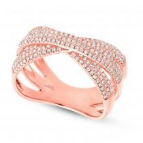 0.60ct 14k Rose Gold Diamond Pave Bridge Ring