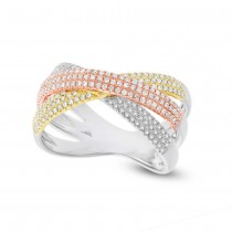 0.60ct 14k Three-tone Gold Diamond Pave Bridge Ring