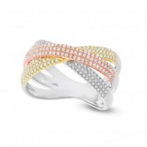 0.60ct 14k Three-tone Gold Diamond Pave Bridge Ring