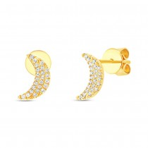 0.11ct 14k Yellow Gold Crescent Moon Stud Earrings