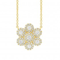 0.47ct 14k Yellow Gold Diamond Flower Necklace