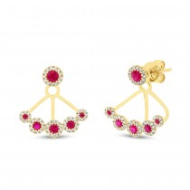 0.33ct Diamond & 0.58ct Ruby 14k Yellow Gold Earrings Jacket With Studs