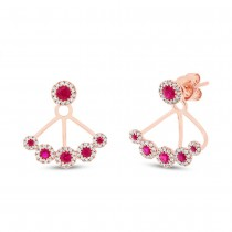 0.33ct Diamond & 0.58ct Ruby 14k Rose Gold Earrings Jacket With Studs