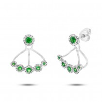 0.33ct Diamond & 0.54ct Green Garnet 14k White Gold Earrings Jacket With Studs