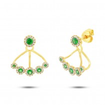0.33ct Diamond & 0.54ct Green Garnet 14k Yellow Gold Earrings Jacket With Studs