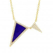 0.14ct Diamond & 0.70ct Natural Lapis 14k Yellow Gold Triangle Necklace