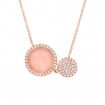 0.15ct Diamond & 0.61ct Pink Opal 14k Rose Gold Circle Necklace