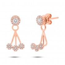 0.37ct 14k Rose Gold Diamond Ear Jacket Earrings