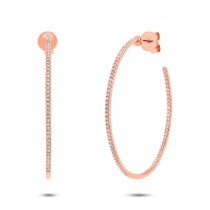 0.36ct 14k Rose Gold Diamond Hoop Earrings