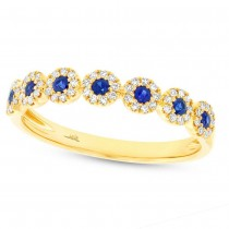 0.16ct Diamond & 0.20ct Blue Sapphire 14k Yellow Gold Lady's Ring