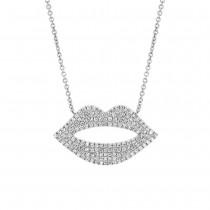 0.36ct 14k White Gold Diamond Pave Lips Necklace