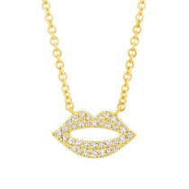 0.08ct 14k Yellow Gold Diamond Pave Lips Necklace