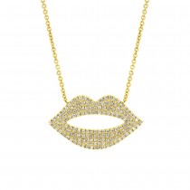 0.36ct 14k Yellow Gold Diamond Pave Lips Necklace