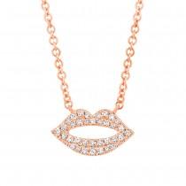 0.08ct 14k Rose Gold Diamond Pave Lips Necklace