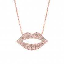 0.36ct 14k Rose Gold Diamond Pave Lips Necklace