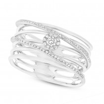 0.21ct 14k White Gold Diamond Bridge Lady's Ring