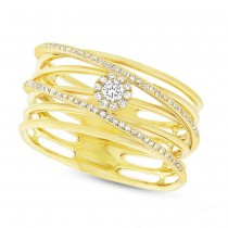 0.21ct 14k Yellow Gold Diamond Bridge Lady's Ring