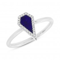 0.06ct Diamond & 0.32ct Lapis 14k White Gold Lady's Ring