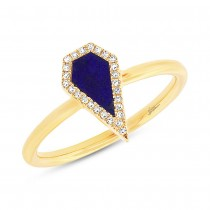 0.06ct Diamond & 0.32ct Lapis 14k Yellow Gold Lady's Ring