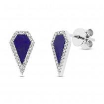 0.12ct Diamond & 0.63ct Lapis 14k White Gold Earrings