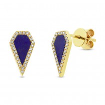0.12ct Diamond & 0.63ct Lapis 14k Yellow Gold Earrings