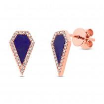 0.12ct Diamond & 0.63ct Lapis 14k Rose Gold Earrings
