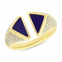 0.42ct Diamond & 0.86ct Lapis 14k Yellow Gold Lady's Ring