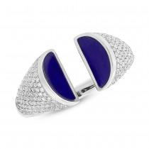 0.50ct Diamond & 1.10ct Lapis 14k White Gold Lady's Ring