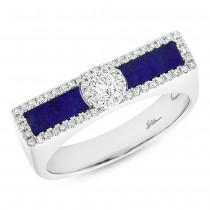 0.21ct Diamond & 0.48ct Lapis 14k White Gold Lady's Ring