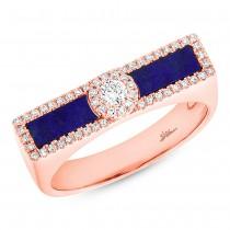0.21ct Diamond & 0.48ct Lapis 14k Rose Gold Lady's Ring