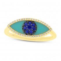0.09ct Diamond & 0.62ct Blue Sapphire & Turquoise 14k Yellow Gold Eye Ring