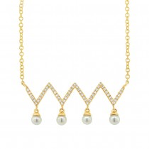 0.17ct Diamond & 0.17ct Fresh Water Pearl 14k Yellow Gold Necklace