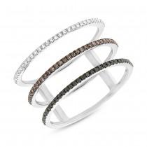 0.28ct 14k White Gold White, Black & Champagne Diamond Lady's Ring