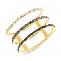 0.28ct 14k Yellow Gold White, Black & Champagne Diamond Lady's Ring