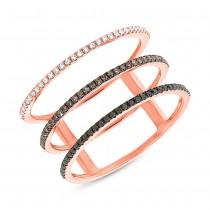 0.28ct 14k Rose Gold White, Black & Champagne Diamond Lady's Ring